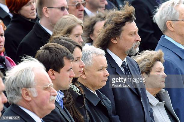 Arrival of the coffin of Polish President Lech Kaczynski who died in a plane crash near Smolensk Russia An arrival ceremony was held at Warsaw Okecie...
