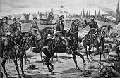 Arrival of the crown prince albert of saxony in the conquered stock of beaumont woodcut 1880