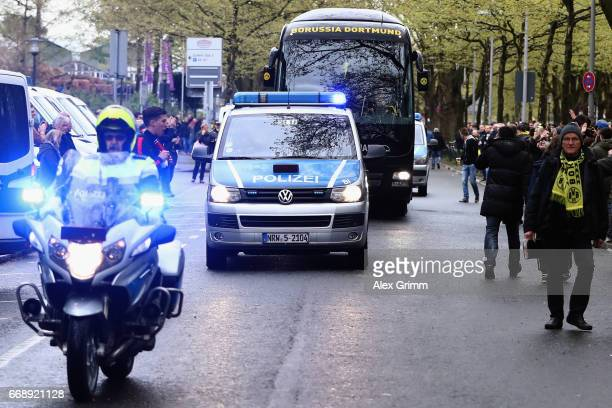 Arrival of the Dortmund team bus prior to the Bundesliga match between Borussia Dortmund and Eintracht Frankfurt at Signal Iduna Park on April 15...
