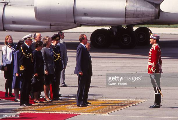 Arrival of the Spanish King Juan Carlos and Sofia to Sofia Airport greeted by Bulgarian President Zhelyu Zhelev and wife 23rd May 1993 Sofia Bulgaria