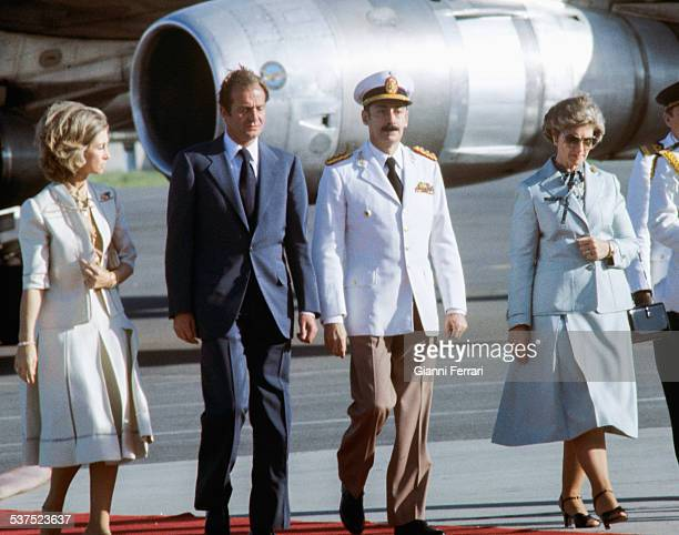 Arrival of the Spanish Kings of Spain Juan Carlos of Borbon and Sofia of Greece to Buenos Aires received by the Argentine President Jorge Rafael...