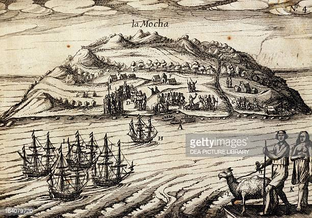 Arrival on the island of Mocha engraving from an account of Joris van Spilbergen's expedition Chile 17th century Vincennes Castello Service...