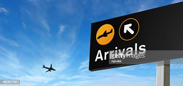 Arrival Sign and Airplane on the Sky