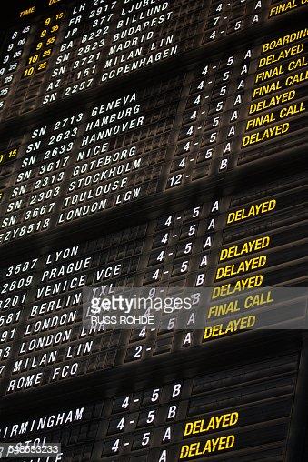 Arrivals and Departures board, Brussels Airport, Zaventem, Belgium