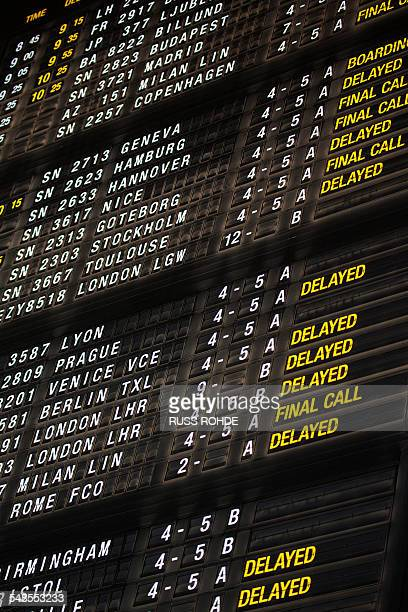 Arrivals and Departures board, Brussels Airport, Zaventem, Belgium