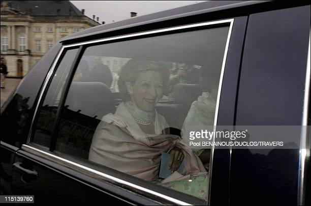 Arrivals at the evening in honour of the wedding of Prince Frederik and Mary Donaldson at the Amalienborg palace in Copenhagen Denmark on May 13 2004...