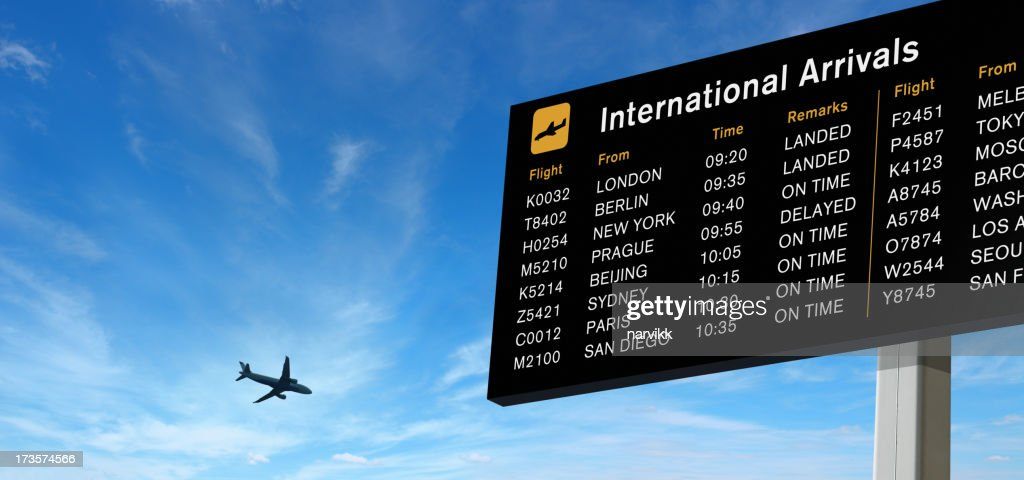 Arrivals Board and Airplane on the Sky
