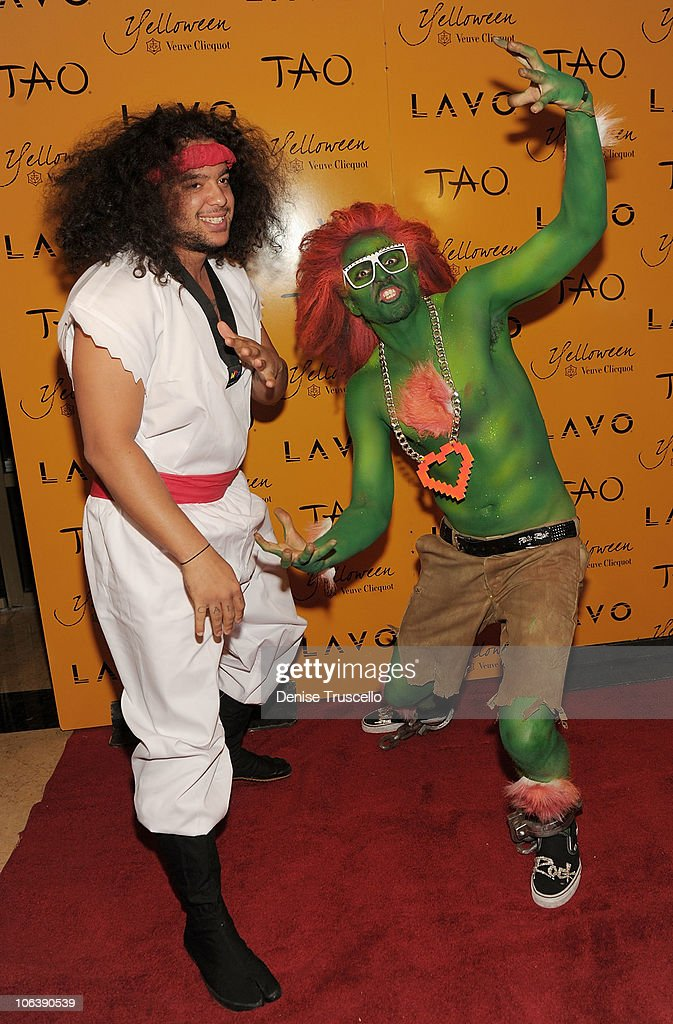 <a gi-track='captionPersonalityLinkClicked' href=/galleries/search?phrase=LMFAO&family=editorial&specificpeople=5419624 ng-click='$event.stopPropagation()'>LMFAO</a> arrive at Veuve Clicquot's Yelloween at Lavo Las Vegas at the Palazzo on October 30, 2010 in Las Vegas, Nevada.