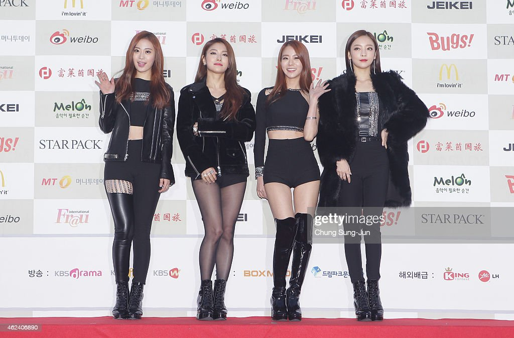 KARA arrive for the 4th Gaon Chart K-POP Awards at the Olympic Park on January 28, 2015 in Seoul, South Korea.