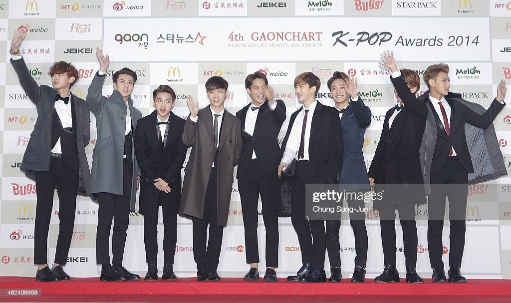 <a gi-track='captionPersonalityLinkClicked' href=/galleries/search?phrase=EXO+-+Band&family=editorial&specificpeople=9756418 ng-click='$event.stopPropagation()'>EXO</a> arrive for the 4th Gaon Chart K-POP Awards at the Olympic Park on January 28, 2015 in Seoul, South Korea.
