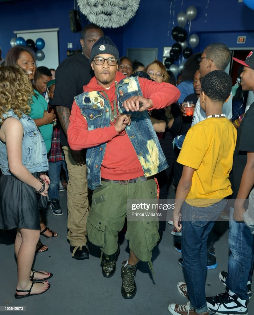 T.I. arrives at Domani Harris's Domani Harris's birthday celebration at Indigo on March 16, 2013 in Toronto, Canada.