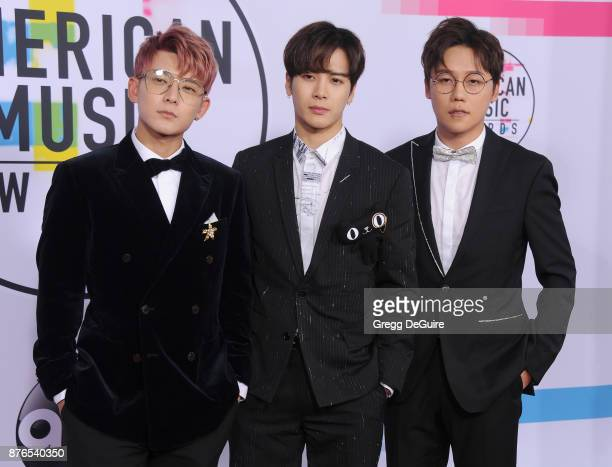 GOT7 arrives at the 2017 American Music Awards at Microsoft Theater on November 19 2017 in Los Angeles California