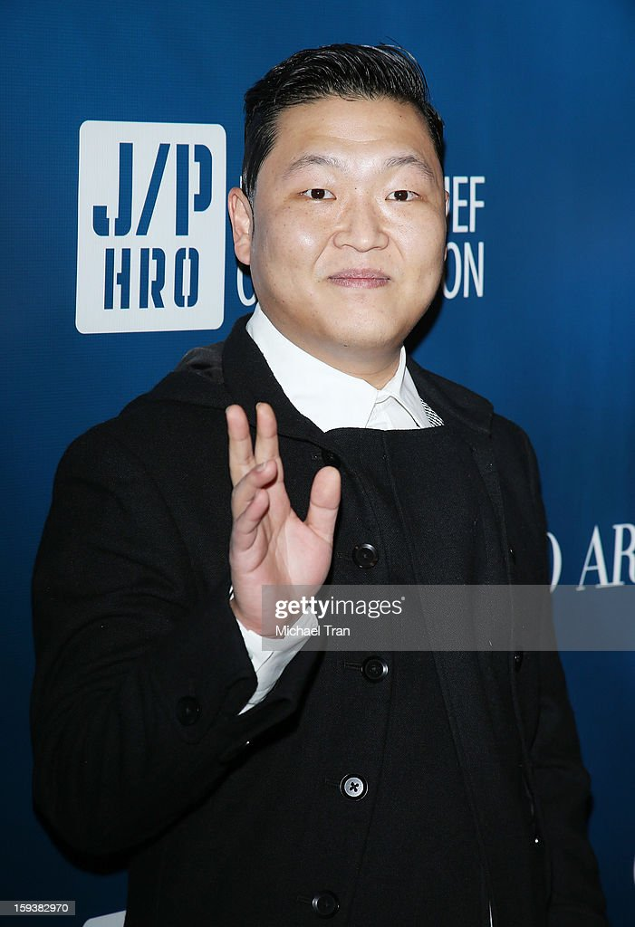 PSY arrives at the 2nd Annual Sean Penn & Friends 'Help Haiti Home' held at Montage Hotel on January 12, 2013 in Los Angeles, California.