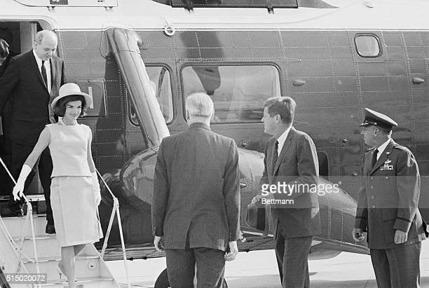 Arriving at Andrews Andrews Air Force Base MD President and Mrs Kennedy leave their helicopter after arriving from the White House They left by jet...