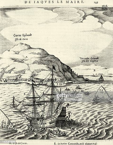 Arriving at Cocos Islands in May 1616 engraving in Jacob Le Maire's Journal Australia 17th Century