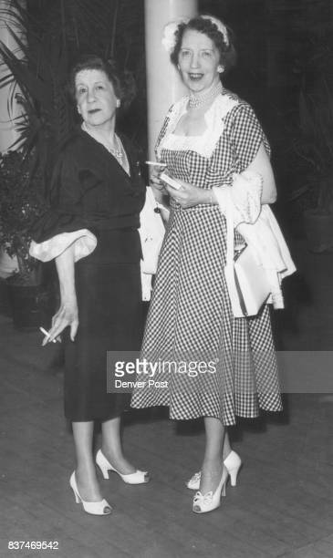 Arriving at Elitch's theater Monday evening for the performance of 'Night Must Fall' are Mrs Clarence Daly and Mrs Joe Schaefer The exciting mystery...