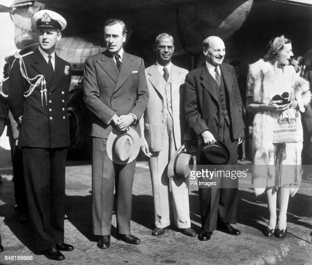 Arriving at Northolt Aerodrome from India is Lord Louis Mountbatten accompanied by his wife and daughter Pamela Lord Louis has completed his office...