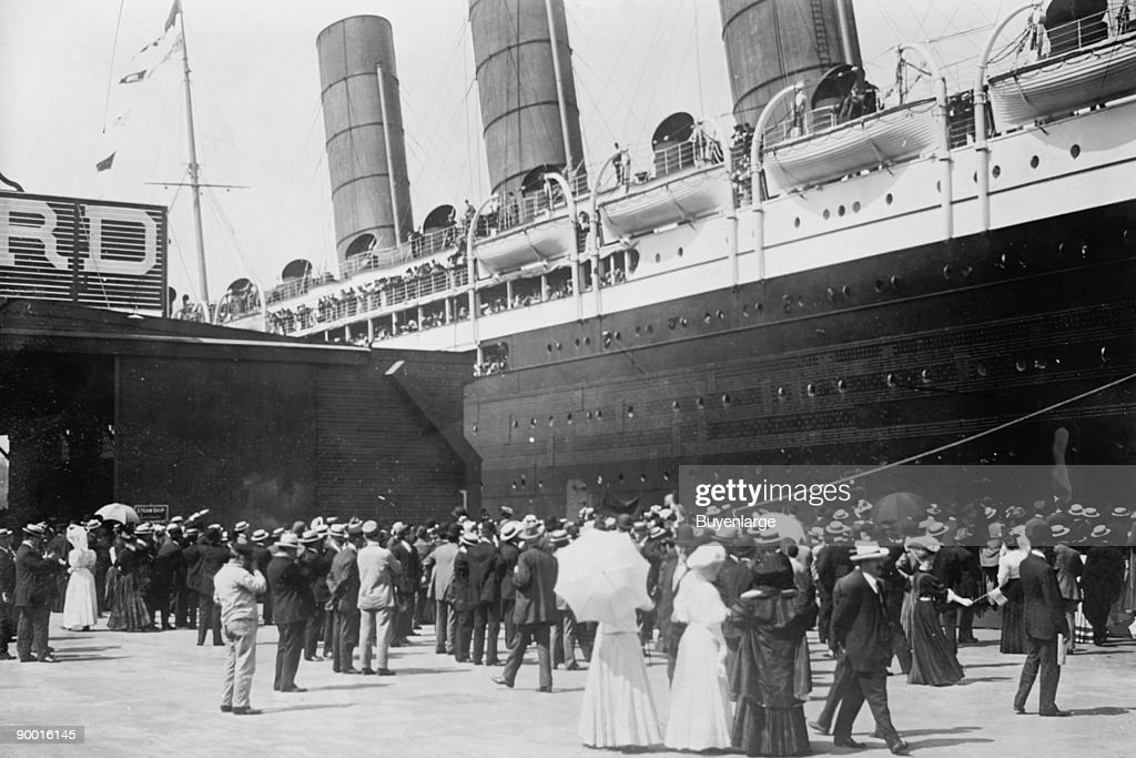 LUSITANIA - arriving in New York City; close-up of starboard side at dock;