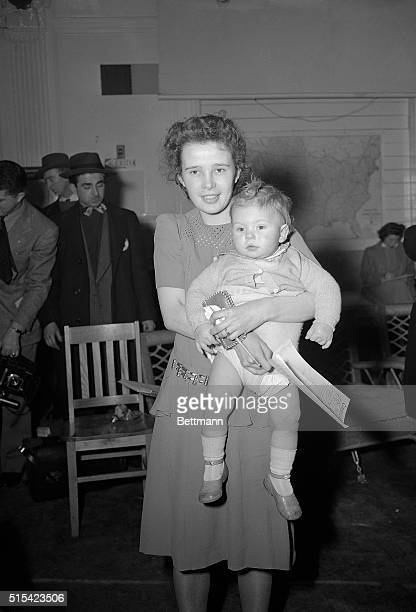 Arriving in the US aboard the 'stork ship' USS Argentina on February 4th was 'war bride' Mrs Joan Dzieglewicz and her son Melvin one year old They...