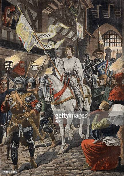 Arriving of Joan of Arc in Orleans in 1429 illustration from 'Le Petit Journal' may 12 1907