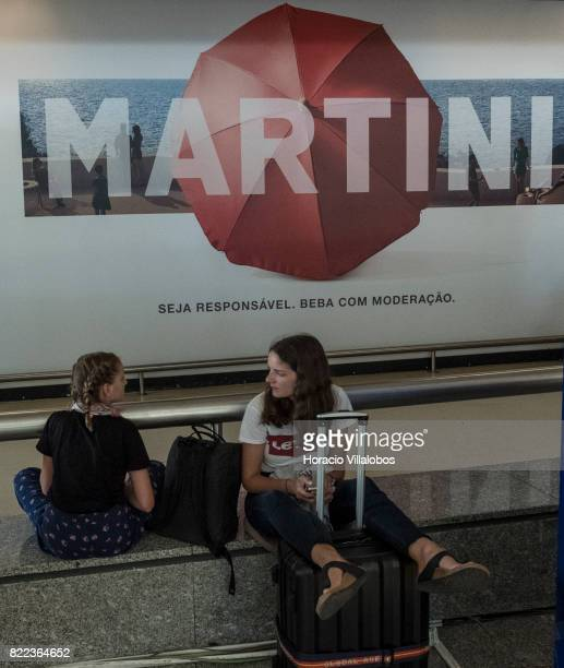 Arriving passengers wait at arrivals hall in Terminal 1 of the Humberto Delgado International Airport on July 25 2017 in Lisbon Portugal The...