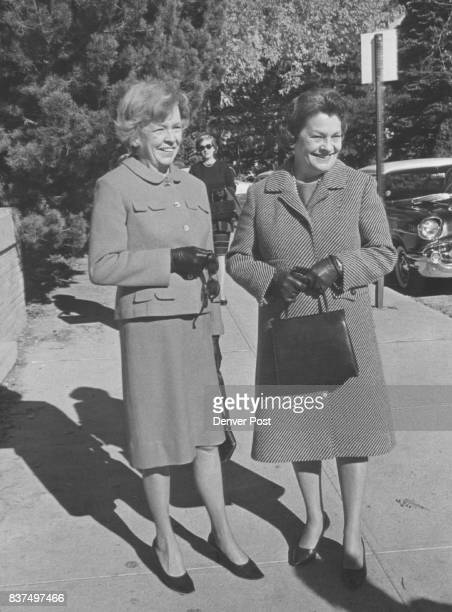 Arriving to hear first Town Hall lecture are Mrs Wilbur Denious Jr left and Mrs Dayton Denious Credit Denver Post