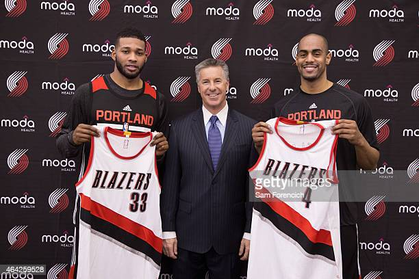 Arron Afflalo and Alonzo Gee of the Portland Trail Blazers are introduced to the media by General Manager Neil Olshey on February 21 2015 at the...