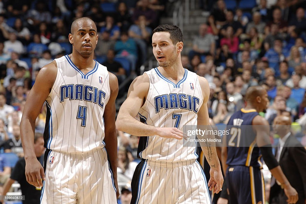 <a gi-track='captionPersonalityLinkClicked' href=/galleries/search?phrase=Arron+Afflalo&family=editorial&specificpeople=640861 ng-click='$event.stopPropagation()'>Arron Afflalo</a> #4 and <a gi-track='captionPersonalityLinkClicked' href=/galleries/search?phrase=J.J.+Redick&family=editorial&specificpeople=211608 ng-click='$event.stopPropagation()'>J.J. Redick</a> #7 of the Orlando Magic talk things over against the Indiana Pacers during the game on January 16, 2013 at Amway Center in Orlando, Florida.