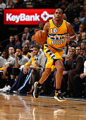Arron Afflalo of the Denver Nuggets controls the ball against the Cleveland Cavaliers at Pepsi Center on November 7 2014 in Denver Colorado The...