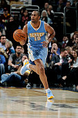 Arron Afflalo of the Denver Nuggets drives against the Cleveland Cavaliers at The Quicken Loans Arena on November 17 2014 in Cleveland Ohio NOTE TO...
