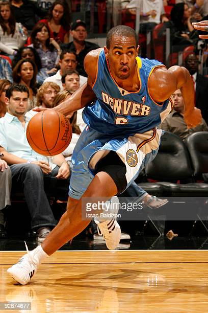 Arron Afflalo of the Denver Nuggets drives against the Miami Heat on November 6 2009 at the American Airlines Arena in Miami Florida NOTE TO USER...