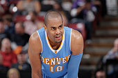 Arron Afflalo of the Denver Nuggets looks on during the game against the Sacramento Kings on January 9 2015 at Sleep Train Arena in Sacramento...