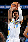 Arron Afflalo of the Denver Nuggets shoots against the Oklahoma City Thunder on October 8 2014 at the Pepsi Center in Denver Colorado NOTE TO USER...