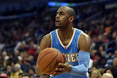 Arron Afflalo of the Denver Nuggets takes a shot during the second half of a game against the New Orleans Pelicans at the Smoothie King Center on...