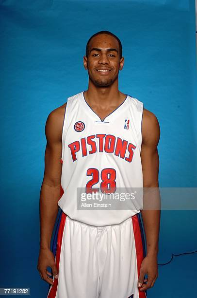 Arron Afflalo of the Detroit Pistons poses for a portrait during NBA Media Day at the Pistons Practice Facility on October 1 2007 in Auburn Hills MI...