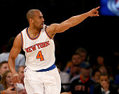 Arron Afflalo of the New York Knicks celebrates his shot in the first half against the Philadelphia 76ers at Madison Square Garden on December 2 2015...