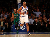 Arron Afflalo of the New York Knicks celebrates his shot in the fourth quarter against the Boston Celtics at Madison Square Garden on January 12 2016...