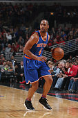 Arron Afflalo of the New York Knicks defends the ball against the Chicago Bulls during the game on January 1 2016 at United Center in Chicago...