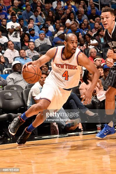 Arron Afflalo of the New York Knicks drives to the basket against the Orlando Magic on November 25 2015 at Amway Center in Orlando Florida NOTE TO...