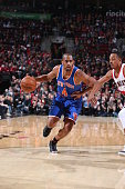 Arron Afflalo of the New York Knicks drives to the basket against the Portland Trail Blazers on December 12 2015 at the Moda Center in Portland...