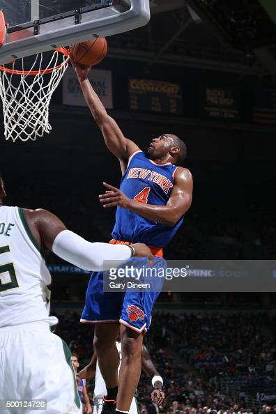 Arron Afflalo of the New York Knicks goes to the basket against the Milwaukee Bucks on December 5 2015 at the BMO Harris Bradley Center in Milwaukee...