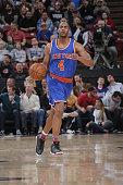 Arron Afflalo of the New York Knicks handles the ball against the Sacramento Kings on December 10 2015 at Sleep Train Arena in Sacramento California...
