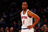 Arron Afflalo of the New York Knicks in action agains the Minnesota Timberwolves at Madison Square Garden on December 16 2015 in New York City The...