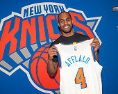 Arron Afflalo of the New York Knicks is introduced to the public during a press conference on July 10 2015 at the Wynn Resort in Las Vegas Nevada...
