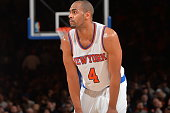 Arron Afflalo of the New York Knicks looks on against the Utah Jazz at Madison Square Garden on January 20 2016 in New YorkNew York NOTE TO USER User...