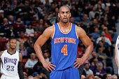 Arron Afflalo of the New York Knicks looks on during the game against the Sacramento Kings on December 10 2015 at Sleep Train Arena in Sacramento...