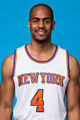 Arron Afflalo of the New York Knicks poses for a head shot at media day at the MSG Training Facility in Greenburgh New York on September 28 2015 NOTE...