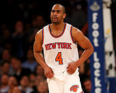Arron Afflalo of the New York Knicks reacts after a foul is not called on the Oklahoma City Thunder at Madison Square Garden on January 26 2016 in...