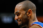 Arron Afflalo of the New York Knicks reacts in the final seconds of their 107101 win over the Atlanta Hawks at Philips Arena on January 5 2016 in...