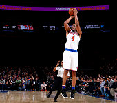 Arron Afflalo of the New York Knicks shoots against the Atlanta Hawks during the game on January 3 2016 at Madison Square Garden in New York New York...